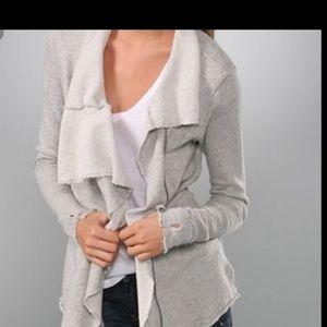 Free People Gray Ebb & Flow zipup, draped cardigan